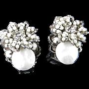 Robert DeMario New York Rhinestone White Milk Glass Bead Cabochon Earrings