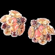 Unsigned Regency Rhinestone Art Glass Bead Earrings
