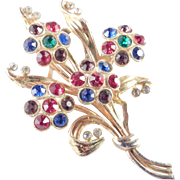 Art Deco Era Pot Metal Rhinestone Rosette Flower Bouquet Spray Brooch Pin