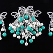 Hattie Carnegie Rhinestone Brooch Pin Earrings Demi Parure Set Peking Glass Beads & Faux Pearl