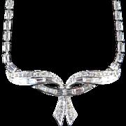 Marcel Boucher Rhinestone Garland Collar Necklace Rhodium Plate