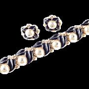 Trifari Shoe Button Glass Bead Cabochon Rhinestone Enamel Bracelet Earrings Demi Parure Set