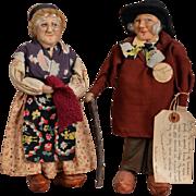 "SOLD Wonderful Bernard Ravca ""Sarthe"" Elderly Couple Cloth Dolls"