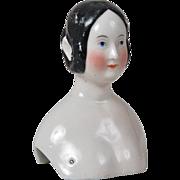 Rare German China Doll Head with Braided Bun -  Damaged