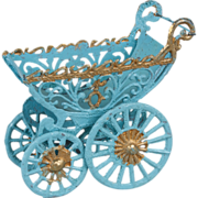 SALE Miniature German Soft Metal Doll Carriage - 3.25 Inches