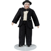 SOLD All Bisque Gentleman with molded Hat - 3.5 Inch