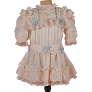 SALE White Silk Dress with Blue Ribbon Trim - For 18 Inch Doll
