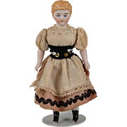 Sweet Parian-Type Dollhouse Doll - 4.75 Inches
