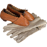 SALE PENDING French Fashion Leather Doll Shoes and Leather Doll Gloves