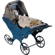 German Penny Toy Tin Baby Carriage and Frozen Charlotte