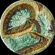 Antique majolica begonia plate