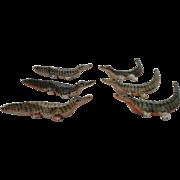 Set of Six Porcelain Crocodile Knife Rests