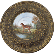 Large Dog platter W / Brass Choisy le Roi