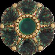 Antique Majolica Malachite Oyster Plate Minton