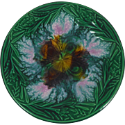 Antique English Majolica Clover & Leaves Plate