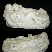 Antique Minton White Bisque Figural Group of  Sleeping Children