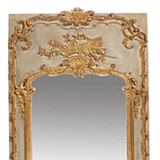 19c. French Louis XV style greenish and parcel gilt boiserie type mirror