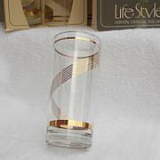 SALE 8 Libby Crystal NIB Gold Gilt 15oz Tumblers Vintage