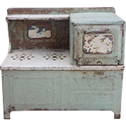 Charming Rustic Painted Metal Kitchen Doll Stove Display