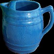 SALE Blue Salt Glaze Barrel Shaped Pitcher