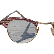 SALE 50's 60's Bausch & Lomb Vintage Reddish Brown Faux Wood Grain Combination Browline Eyegla