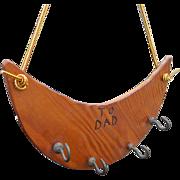 Vintage Handmade Folk Art Wooden Key Hanger For Dad