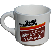 SALE Vintage Advertising Swift Premium Brown N'Serve Sausage Cup