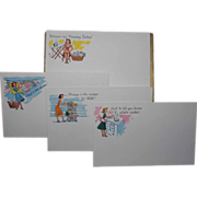 SALE Humourous Housewife Box of 17 Vintage POST-A-NOTE Postcards - 4 Different Designs - By Cu