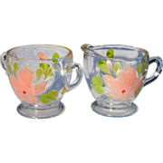 SALE Pretty Peach Painted Flower on Clear Glass Cream and Sugar Set