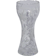 "SALE Season Sale  12"" ABP American Brilliant Period Antigue Heavy Cut Glass Corset Vase"
