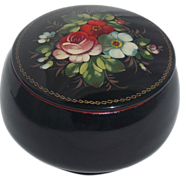 SALE Estate Find Russian Black Lacquer Floral Signed Hand Painted Metal Vanity Trinket Box