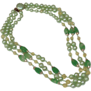 Mint Green Faux Pearl, Stone and Crystal Three Strand Mid Century Vintage Necklace, Signed ...