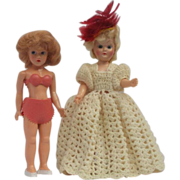 SALE Pair of Lovely Mid Century Miniature Dress Me Dolls