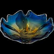 SALE PENDING Brilliant Blue Art Glass Bowl