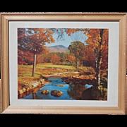 SALE Craftsman Framed Vintage Fall Scene Lithograph