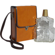 SALE Vintage Binocular Shaped Glass Liquor Bottle with Carrying Case