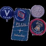SALE 1940's WWII Wartime Liberty loans Pinbacks