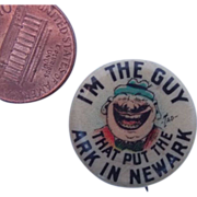 Vintage I'm The Guy That Put The New in Newark Pinback