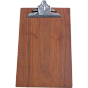 Mahogany Wood Stainless Steel Back Vintage Stemco Dallas Clipboard