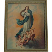 """SALE PENDING Madonna with Cherubs Framed Old Lithograph 11"""" X 9"""""""