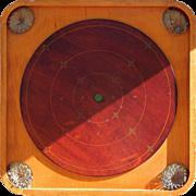 """SALE 1901-1914 Beautiful Decorative Carrom Combination """"F"""" Crokinole Game Board"""