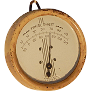 Art Deco Font Fahrenheit Vintage Metal Glass Hanging Wall Thermometer