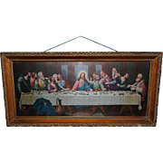 Large Fabulous Reverse Painted Leviton Socket Lighted Gorgeous Wood Box Frame Jesus Last Suppe
