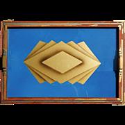 Bold Art Deco Vintage Tray Wall Art Sky Blue and Gold Geometric Print Design Under ...