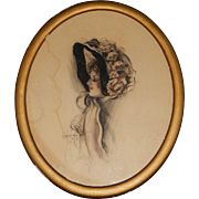 Signed Original Edwardian Pastel Pencil Color Wash Hat Fashion Portrait by Arta Banta in the .