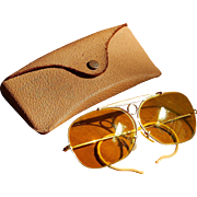 B&L Decot 65mm Ray-Ban Mid Century Vintage Yellow Kalichrome Bullet Hole Shooter Sunglasses