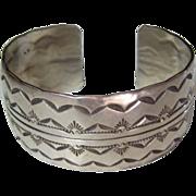 SALE Old Pawn Wide Sterling Silver Navajo 40.6 Gram Hand Stamped Sunrise Cuff Bracelet