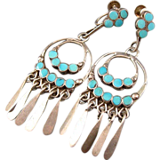 Vintage 1950's Zuni Dishta Old Pawn Sterling Silver Flush Inlay Turquoise Dangle Earrings