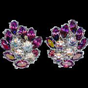 SALE Vintage Trifari Purple Amethyst Alexandrite Rhinestone Earrings Radiance