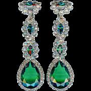 SALE Early K.J.L. Kenneth Jay Lane Long Dangling Emerald Green Crystal Earrings